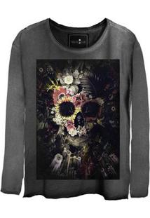 Camiseta Estonada Gola Canoa Manga Longa Skull Garden