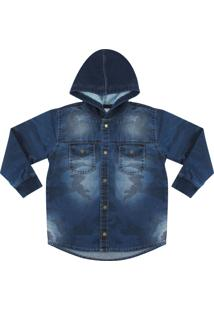 Camisa Look Jeans Camuflada Jeans Azul - Azul - Menino - Dafiti