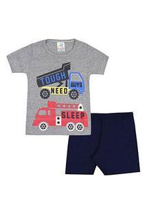 Pijama Bebê Masculino Curto Meia Malha Mescla E Azul Marinho Caminhão (1/2/3) - Jidi Kids - Tamanho 3 - Mescla,Azul Marinho