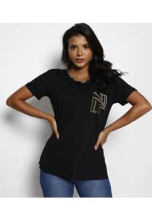Camiseta Com Bolso - Preta & Dourada - Tritontriton