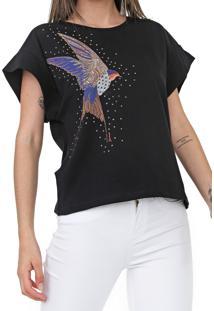 Camiseta Sommer Amarraã§Ã£O Preta - Preto - Feminino - Algodã£O - Dafiti