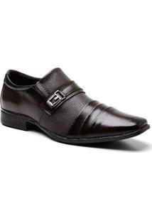 Sapato Social Recortes Fivela Masculino - Masculino-Preto