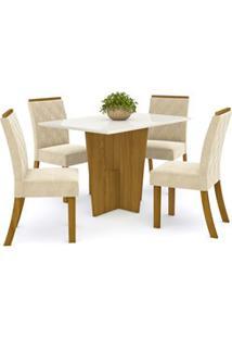 Sala De Jantar Mesa Retangular Vértice 120Cm Com 4 Cadeiras Vita Natur