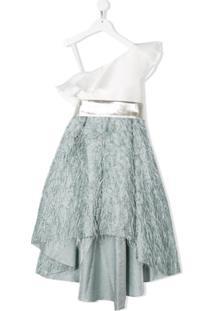 La Stupenderia Vestido Ombro Único Com Textura - Branco