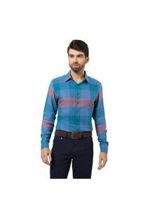 Camisa Fit Zaiko Xadrez Manga Longa 1450 Azul/Rosa