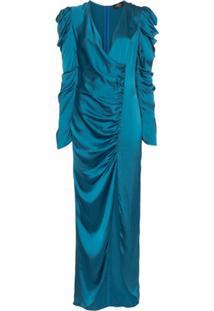 De La Vali Vestido Longo Gin Com Franzido - Azul