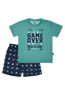 Pijama Jade - Primeiros Passos Menino Meia Malha 42656-737 Pijama Verde-Primeiros Passos Menino Meia Malha Ref:42656-737-2