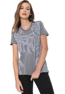 Camiseta Triton Estampada Aplicações Cinza