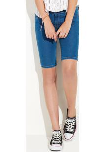 Bermuda Jeans Tipo Ciclista Feminina Em Algodão