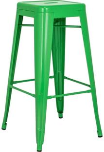 Banqueta Alta Iron Tolix - Industrial - Aço - Vintage - Verde Bandeira