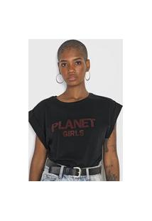 Camiseta Planet Girls Mangas Dobradas Preta