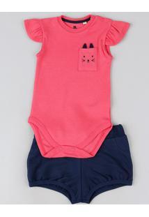 Conjunto Infantil Body Gatinho Com Bolso Manga Curta + Short Azul Marinho Azul Marinho