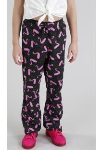 Calça Infantil Fábula Estampada De Flamingo Com Nó Preta