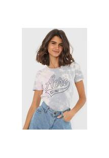 Camiseta Aeropostale Tie Dye Cinza/Rosa