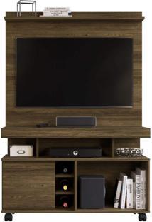 Rack Bancada Com Painel Home Para Tv Até 42 Polegadas 1 Porta Delta Colibri Canela Rústico