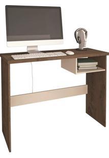 Mesa De Computador Detroit Mocaccino Rústico/Natura Off White Atualle Móveis