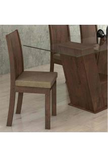 Conjunto Com 2 Cadeiras Florença Imbuia Soft C/ Assento Animale Bege Cinza Lopas