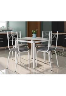 Conjunto De Mesa De Cozinha Com 4 Lugares Malva Ii Courvin Cinza