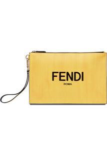 Fendi Clutch Com Estampa De Logo - Amarelo