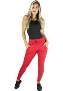 Calça Moletom Ribana Mvb Modas Cintura Alta Feminina - Feminino-Vermelho