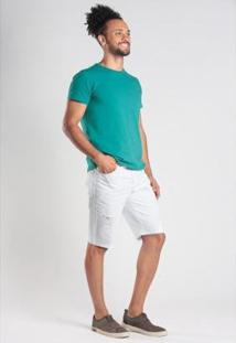 Bermuda Jeans Slim 5 Bolsos Com Puído Masculina - Masculino-Branco