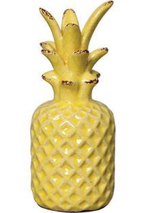 Escultura Decorativa Abacaxi Pigmeu Amarela 16,5X7 Cm