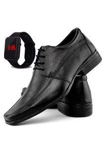 Sapato Social Fashion Com Relógio Led Dubuy 902El Preto