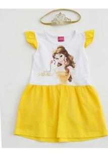Vestido Infantil Bella Tiara Tule Disney