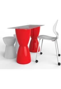 Conjunto De Mesa Com 1 Cadeira E 2 Bancos | Banquetas Home Office Vermelho