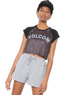 Camiseta Cropped Volcom Multi Grafite