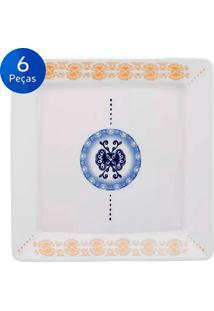 Conjunto De Pratos Para Sobremesa 6 Peças Nara Focus - Oxford - Branco / Azul