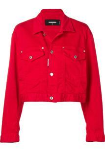 Dsquared2 Jaqueta Jeans Cropped - Vermelho