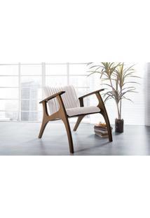 Poltrona De Madeira Decorativa Off White - Poltrona Confortável Para Sala E Quarto - Verniz Capuccino \ Tec.003 Linen Soft Off White - 69X83X74 Cm