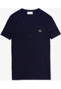 Camiseta Lacoste Gola V - Feminino