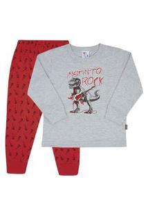 Conjunto Pijama Mescla Cinza - Infantil - Menino 4 45160-567 Conjunto Pijama Cinza - Infantil Menino Meia Malha Ref:45160-567-4