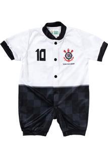 Macacão Curto Do Corinthians Torcida Baby Camisa 10 Branco