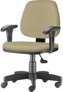 Cadeira Job Com Bracos Curvados Assento Fixo Courino Bege Base Rodizio Metalico Preto - 54636 Sun House