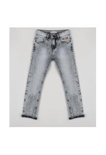 Calça Jeans Infantil Skinny Com Bolsos Preta