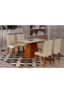 Conjunto De Mesa De Jantar Luna Com Vidro E 4 Cadeiras Ane Ii Linho Imbuia E Branco