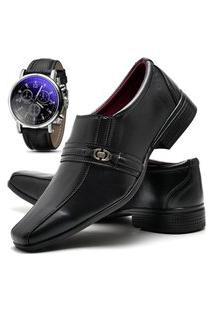 Sapato Social Masculino Asgard Com Relógio Db 806Lbm Preto
