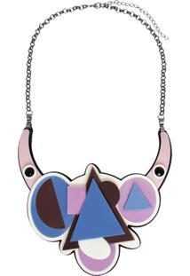 Colar Le Diamond Acrílico Geométrico Multicolorido