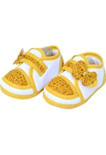 Sapato Spike Sapatinhos Baby Amarela E Branca