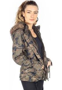 Jaqueta Parka Camuflada Pêlos Bolsos Besni Feminina - Feminino-Verde Militar