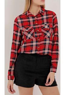 c6f7e114e Camisa Xadrez Manga Longa Feminina Vermelho