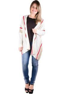 Kimono Trico Com Listras - Banna Hanna - Feminino-Off White