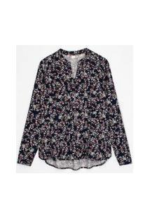 Camisa Manga Longa Estampa Floral | Marfinno | Azul | Pp