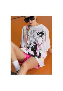 T-Shirt Alongada Manga Curta Branca Ref: 502Ts002367 T-Shirt Alongada Manga Curta Branca Ref: 502Ts002367 - P - Branco My Favorite