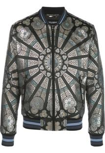 Dolce & Gabbana Jaqueta Bomber Com Estampa De Vitral - Preto