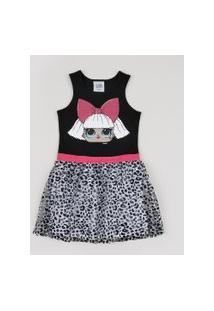 Vestido Infantil Lol Surprise Sem Manga Estampado Animal Print De Onça Preto