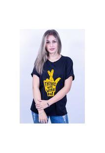 Camiseta Bilhan Corte A Fio Figa Gde Preta